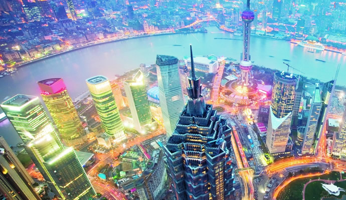 shanghai skyline at night with neon lights