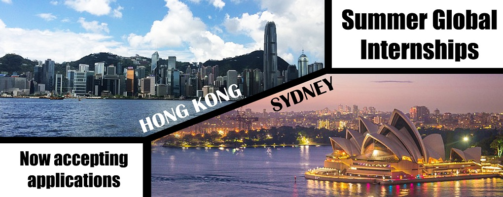Photo of Hong Kong skyline and Sydney skyline.  Summer Global Internships, now accepting applications.  Hong Kong and Sydney.
