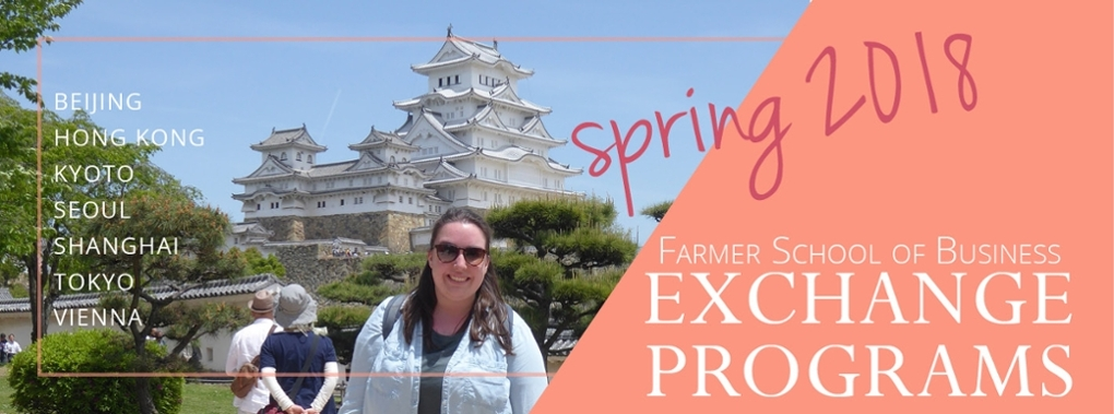 Spring 2018 Farmer School of Business Exchange programs. Beijing, Hong Kong, Kyoto, Seoul, Shanghai, Tokyo, Vienna. Photo of student in front of white palace in Japan.