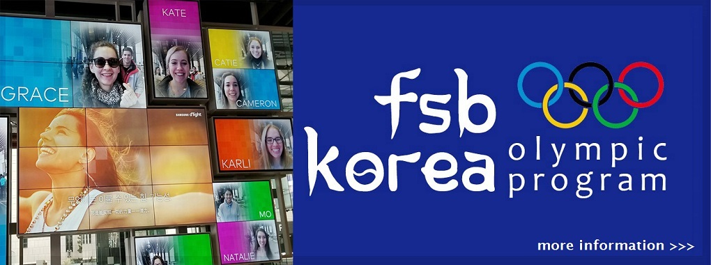 Collage of students faces and names on televisions. FSB Korea Olympic Program with Olympic rings symbol. More Information.