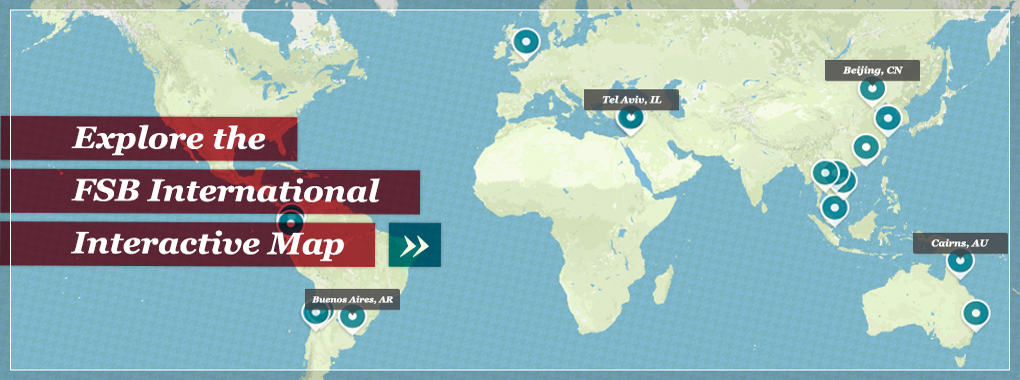 Static map image directing to an interactive map displaying international programs.