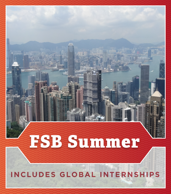 FSB Summer button imposed on a picture of Hong Kong