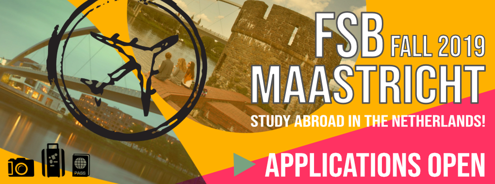 Picture of Maastricht city with a vector of a an airplace, a camera, a suitcase and a passport superimposed over them. Text: FSB Maastricht Fall 2019 Study Abroad in the Netherlands Applications open.