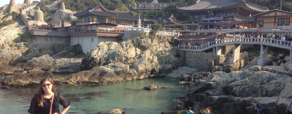 Greathouse with rocky shore and traditional rooftop background in Korea