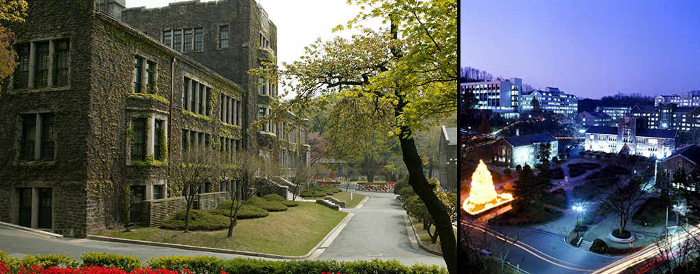 Left: Ivy covers a stone building. Right: Nighttime casts a purple hue on an aerial shot of the university