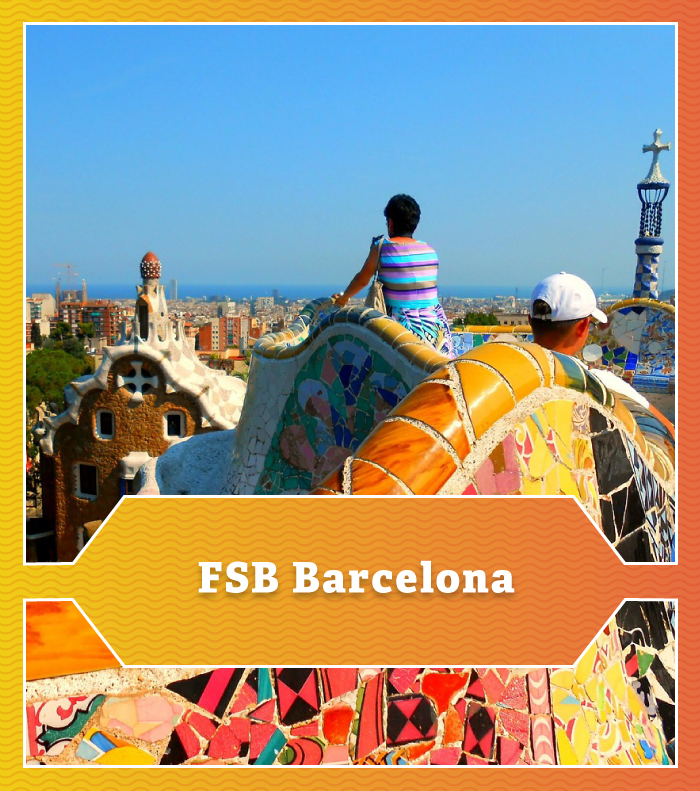 A colorful mosaic in front of the Barcelona skyline.