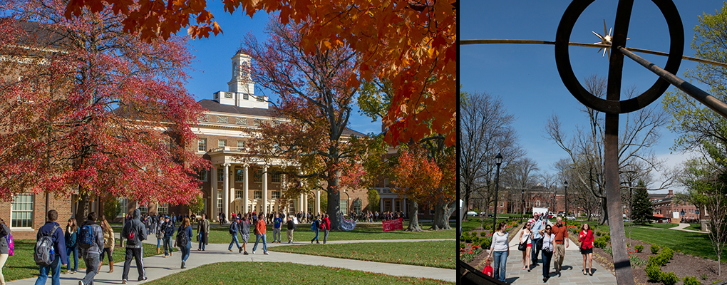 Left: Exterior of the Farmer School of Business in the fall. Right: View through the sundial of people walking on the sidewalk.