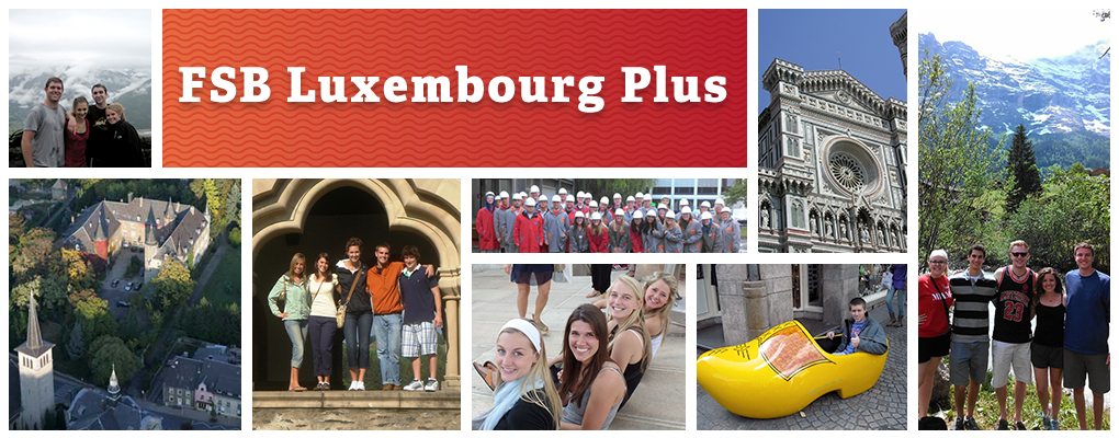 FSB Luxembourg Plus - a photo collage of scenic photos of European landscapes and groups of students