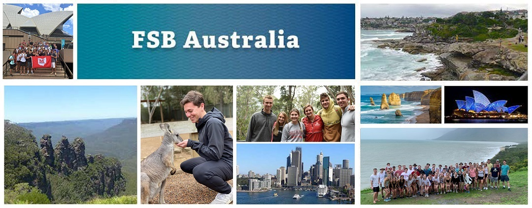 FSB Australia - a photo collage of scenic photos of Australian landscapes and groups of students