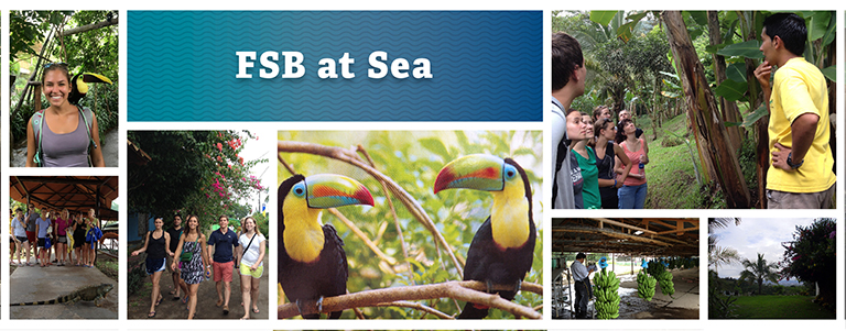 FSB at Sea Composite:  Female with Toucan bird on her shoulder, a group of students observing an Iguana,  a group of students walking in a tropical setting, two Toucan birds, banana plantation tour, bunches of bananas just harvested, and a tropical forest setting.