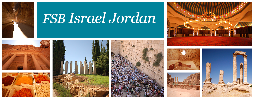 FSB Israel Jordan - a photo collage of different landmarks from Israel and Jordan