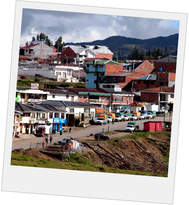 Polaroid of brightly colored houses on a hill
