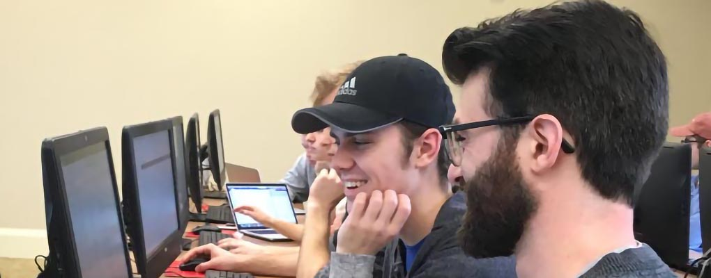 Students work in a data mining class