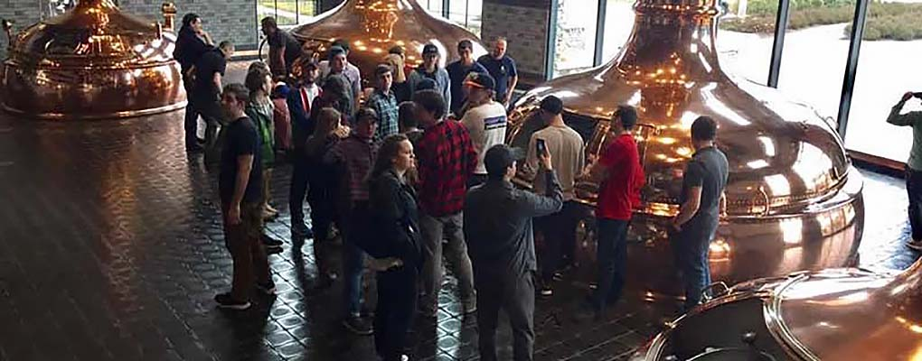 Supply chain students on the brewery tour