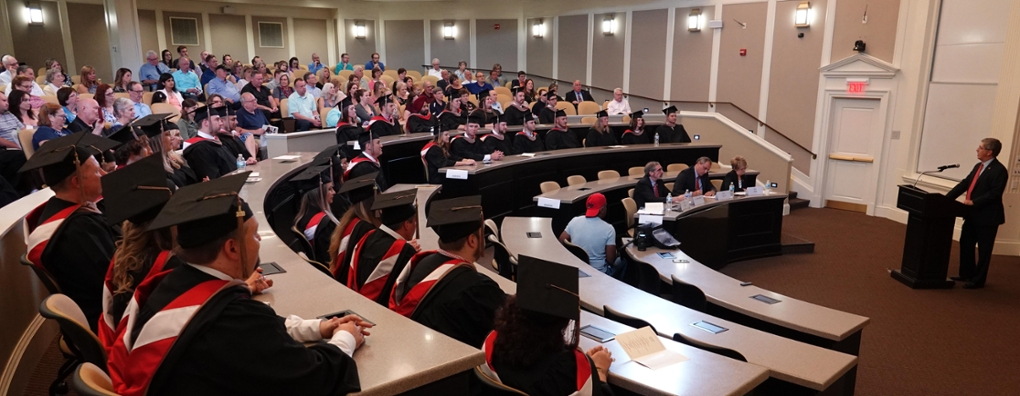 Wide shot of MBA graduation