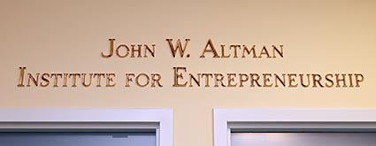 John W. Altman Institute for Entrepreneurship sign