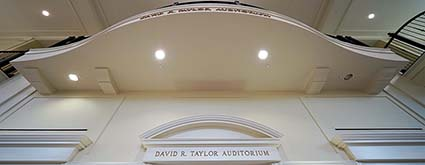 Front of Taylor Auditorium, looking up