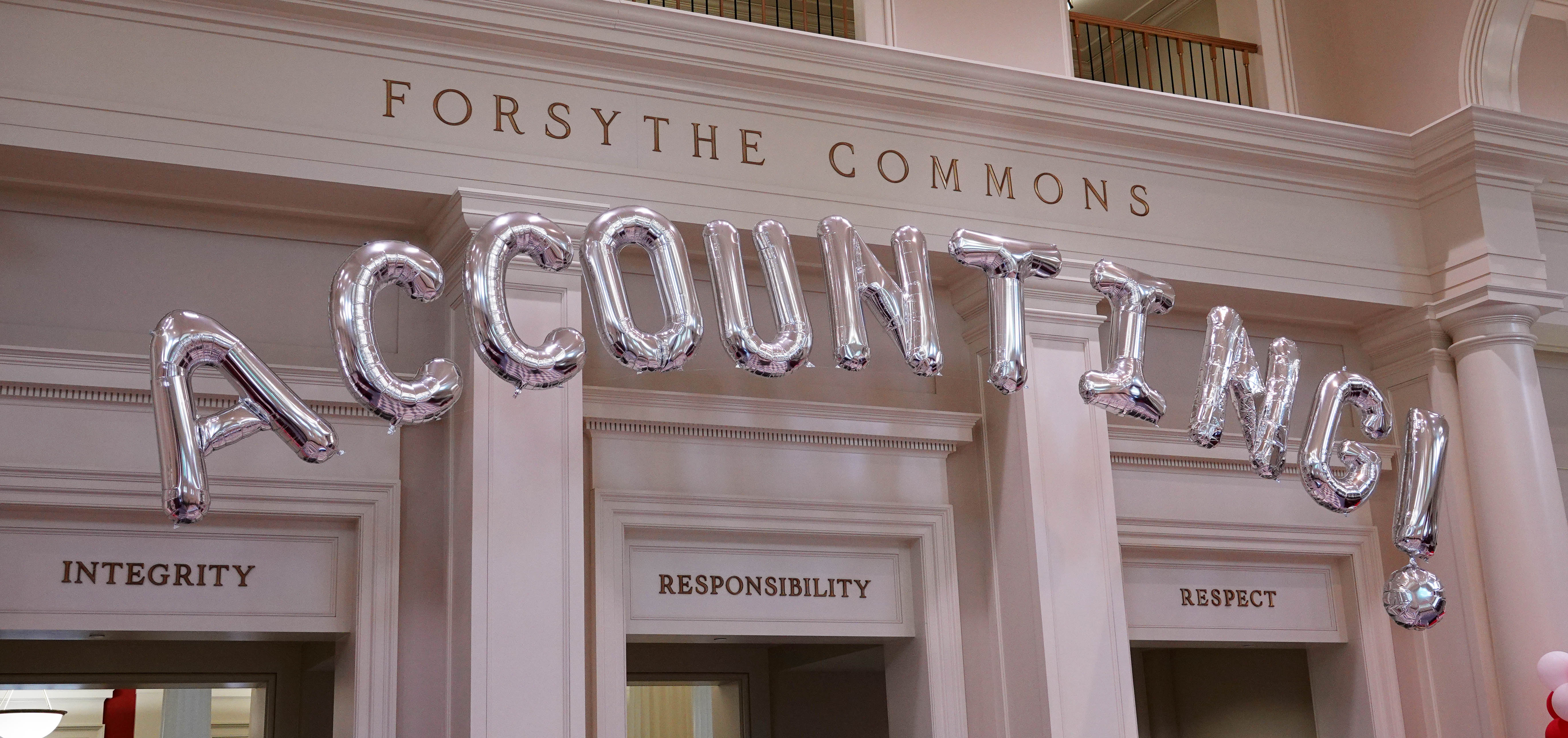 "Balloons spelling ""Accountancy"" in Forsythe Commons"