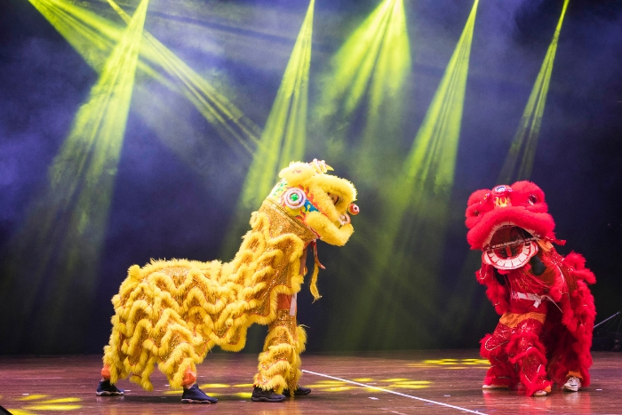 lion dance on stage, yellow and red lion