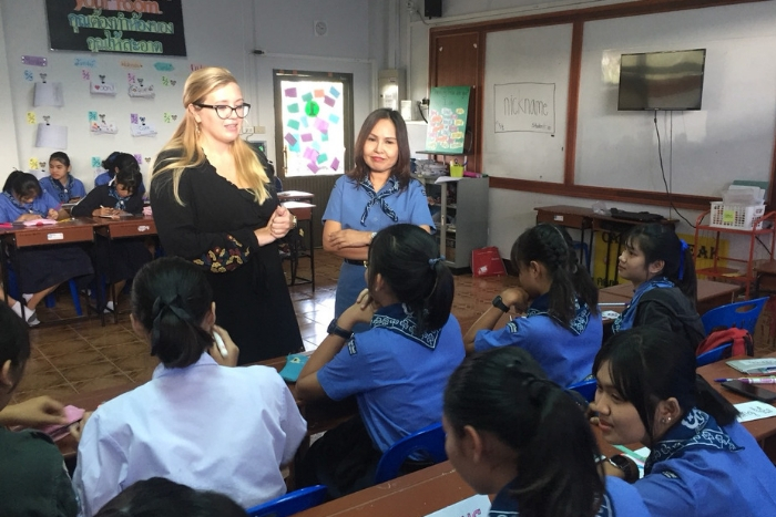 former Miami student teaching in a classroom during her Fulbright Program experience