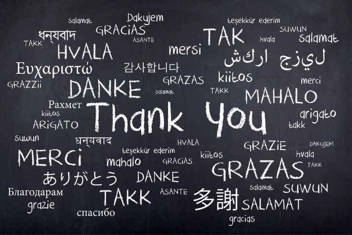 "words on a white board all written in different languages. Words say ""thank you"""