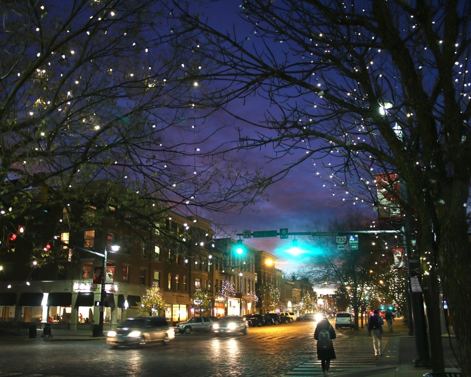 Uptown Oxford, Ohio in winter time, holiday lights