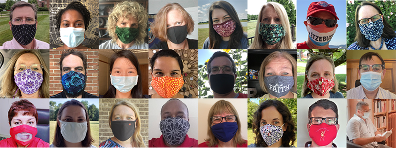 Collage of Global Initiatives employees wearing face masks