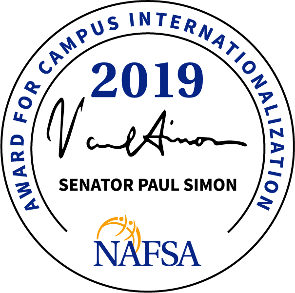 "NAFSA logo and icon that says ""Senator Paul Simon Award for Campus Internationalization"""