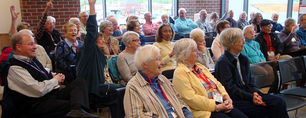 A group of retirees take a class