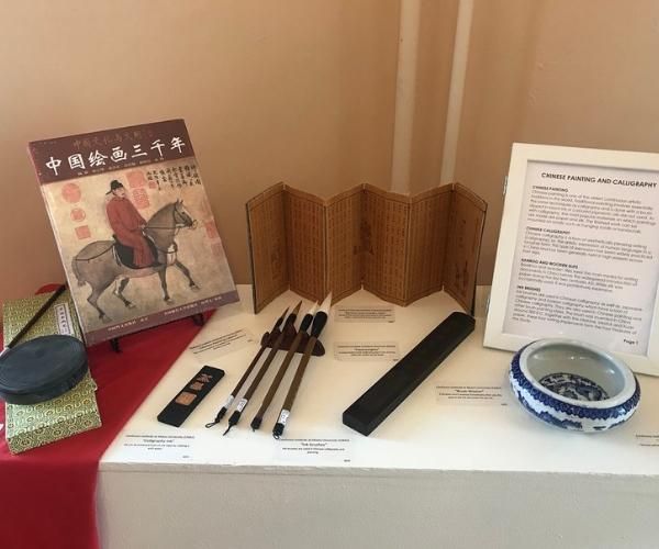 an art museum display of Chinese objects