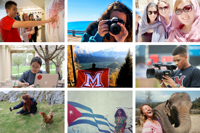 collage of Miami domestic and international students studying abroad or on Miami's campus
