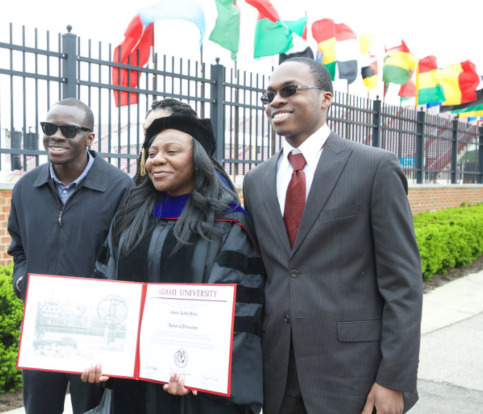 Doctoral student and their family at May commencement