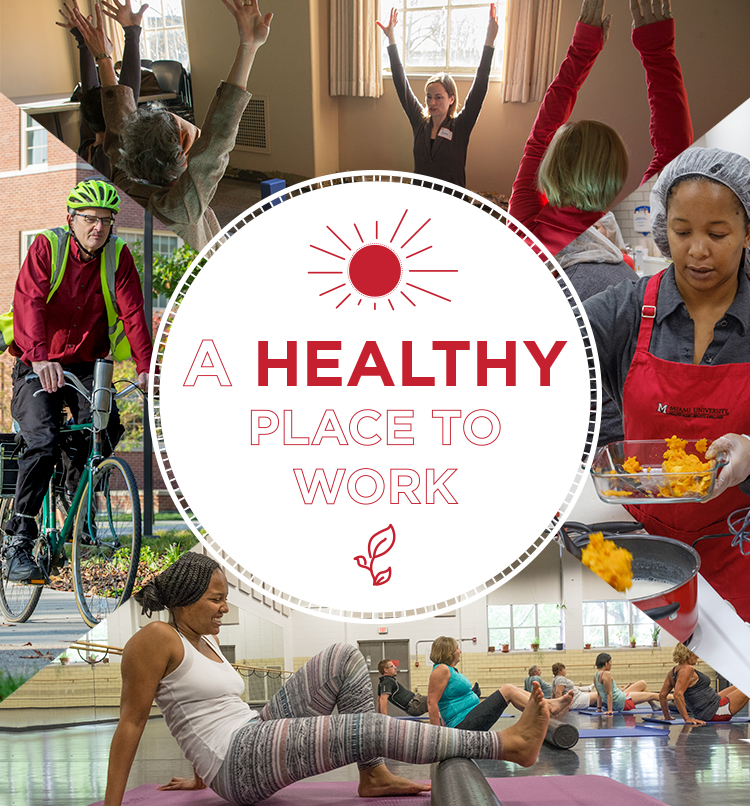 A healthy Place to Work, Man on bike, girl stretching, employee cooking, group fitness class.