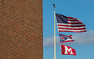 American Ohio and Miami University Flags