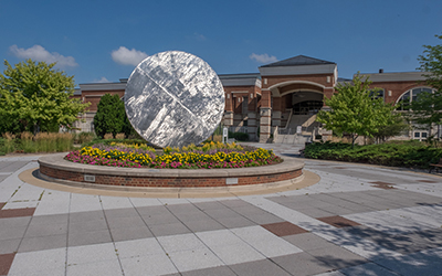 Sculpture in front of Rec Center entrance