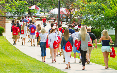 Students walking as a group
