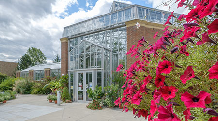 The outside of the Conservatory with pink potted plant.