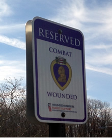 Parking sign: Reserved for Combat Wounded
