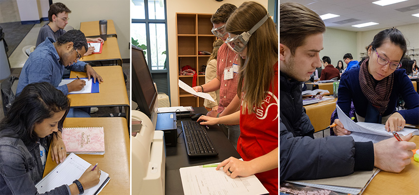 Images from left to right: Photo of two students working at their desk writing on pieces of papers. Middle photo of 2 students working in the science lab with googles on their eyes. Right image a professor working with a student at their desk.