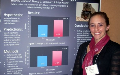 Brittney Graham stands in front of a large poster detailing her research