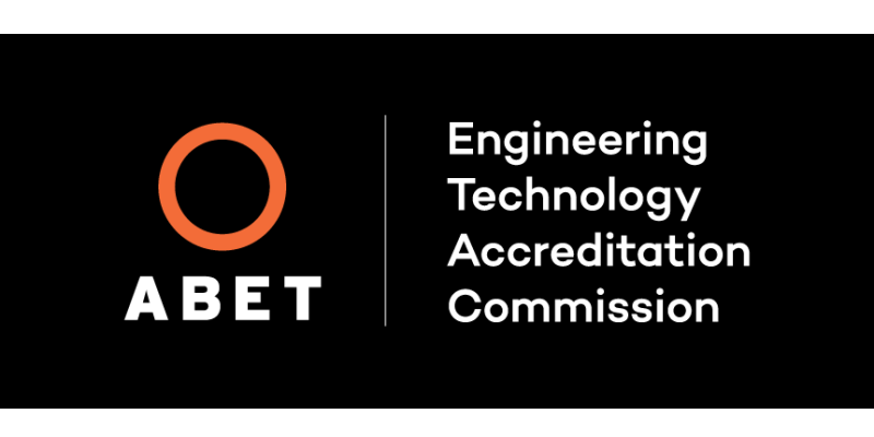 The ABET logo and the words Engineering Technology Accreditation Commission overlaying a black background