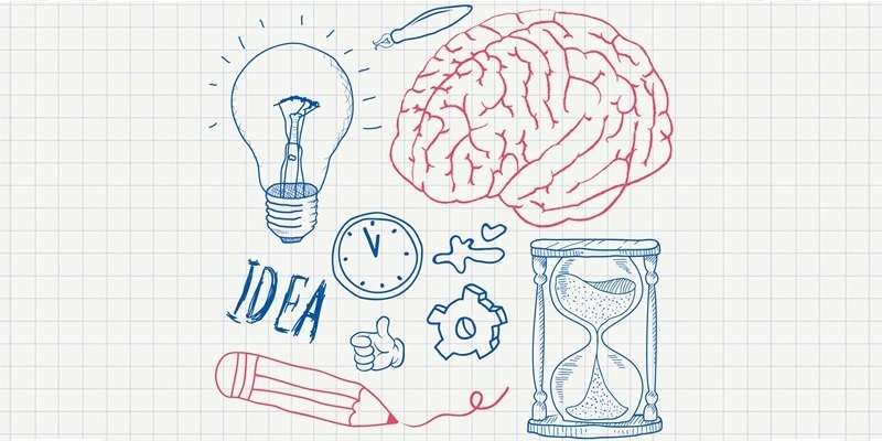 A sketch of an illuminated light bulb, a brain, a pen, the word