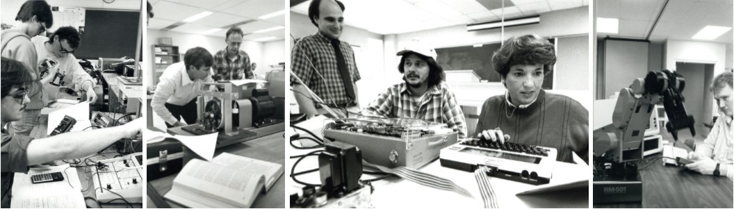 Collage of 4 black and white images showing ENT students and faculty working on lab and office equipment in 1988
