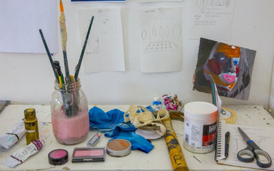 Art supplies on art desk
