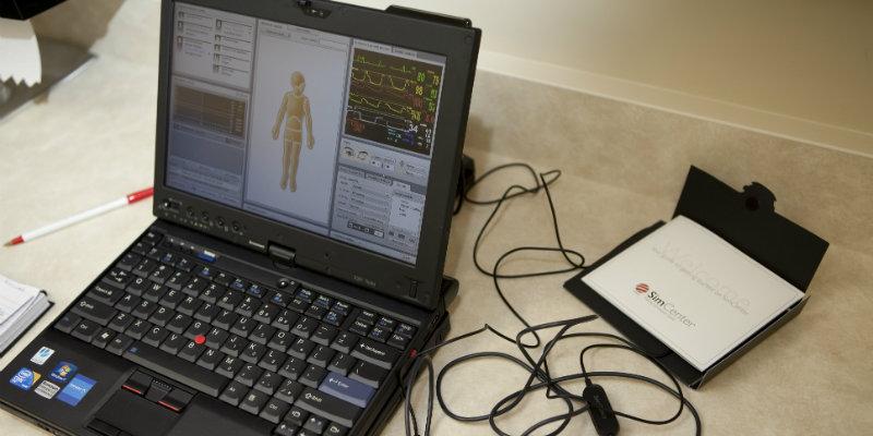 Nursing computer used to control the sim
