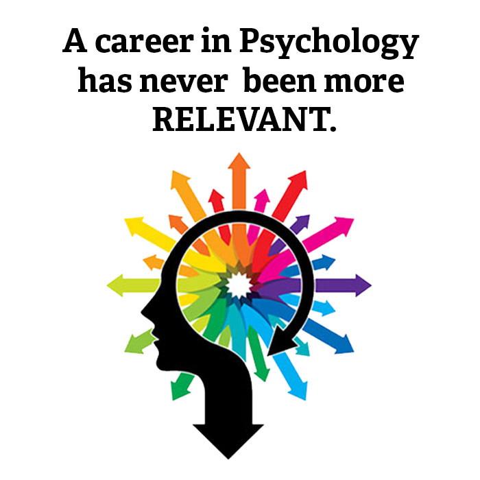 Text reads A career in Psychology has never been more relevant. Our B.A. in Psychological Science has been designed with you in mind with an image of an outlined head with different colored arrows coming out of the brain.