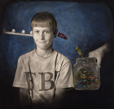 Portrait of young boy looking directly at viewer, smiling. From off-left, small white balls are being poured into his ear. At the other side, a hand is holding a glass jar to catch toy cars that are pouring out of boy's other ear.