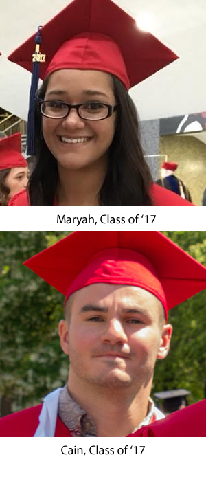Headshots of Maryah and Cain in graduation gowns and caps.