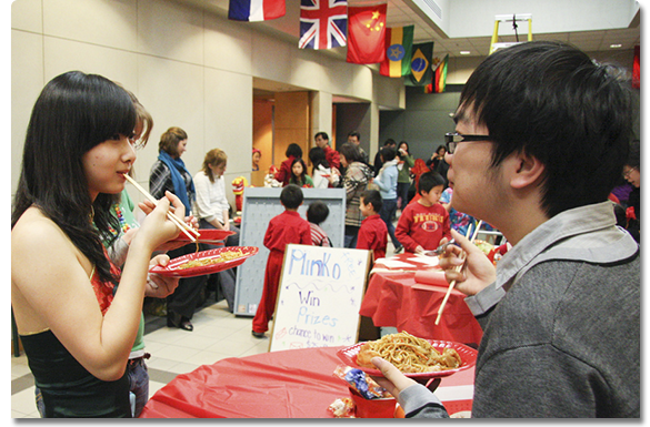 International students at a luncheon