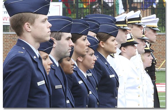 ROTC students standing at commencement